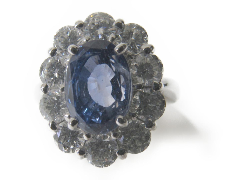 【中古】ジュエリー サファイアリング 指輪 レディース PT900 プラチナ×サファイア4.504ct×ダイヤモンド2.03ct ブルー