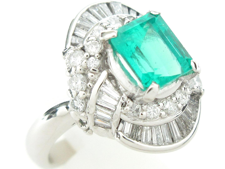 【中古】ジュエリー エメラルド リング 指輪 レディース PT900 プラチナxエメラルド(1.00ct)xダイヤモンド(0.65ct) シルバーxグリーン