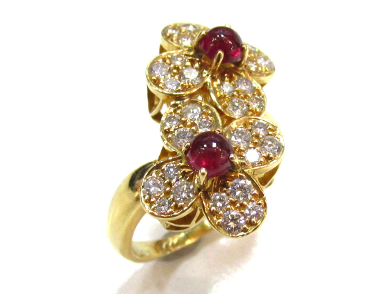【中古】ヴァンクリーフ&アーペル トレフルダブルリング 指輪 レディース K18YG(750) イエローゴールドxダイヤモンド(0.63ct)xルビー レッドxゴールド