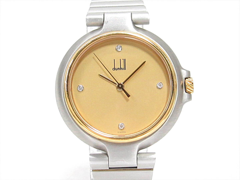 【中古】ダンヒル ミレニアム 腕時計 ウォッチ レディース ステンレススチール(SS)xGPxダイヤモンド(4P) | dunhill クオーツ watch 美品 ブランド ブランドオフ BRANDOFF