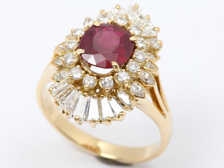 【】ジュエリールビーダイヤモンドリング指輪レディースK18YG(750)イエローゴールドxルビー(1.789ct)xダイヤモンド(1.90ct)