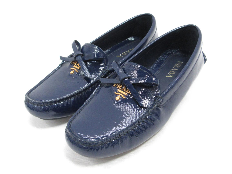 【中古】プラダ ドライビングシューズ レディース エナメル ネイビー | PRADA くつ 靴 シューズ 美品 ブランドオフ BRANDOFF