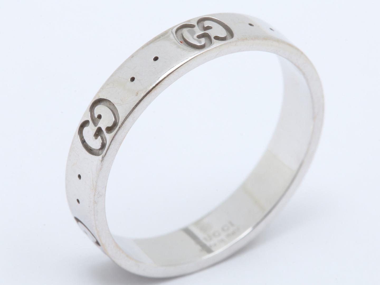 ff8c41d69e 【中古】グッチ アイコンリング 指輪 レディース k18WG (750) ホワイトゴールド   GUCCI