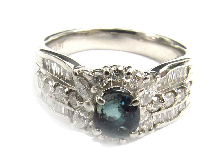 ee9755b0736d ... ジュエリーアレキサンドライトダイヤモンドリング指輪レディースPT900プラチナxアレキサンドライト(0.74ct) ...
