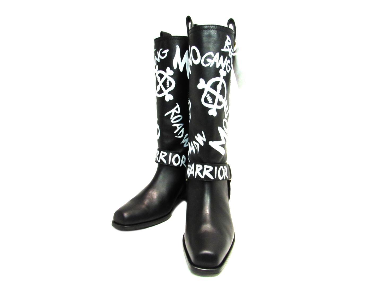 モスキーノ ブーツ レディース レザー ブラック | MOSCHINO くつ 靴 ブーツ 新品 ブランド ブランドオフ