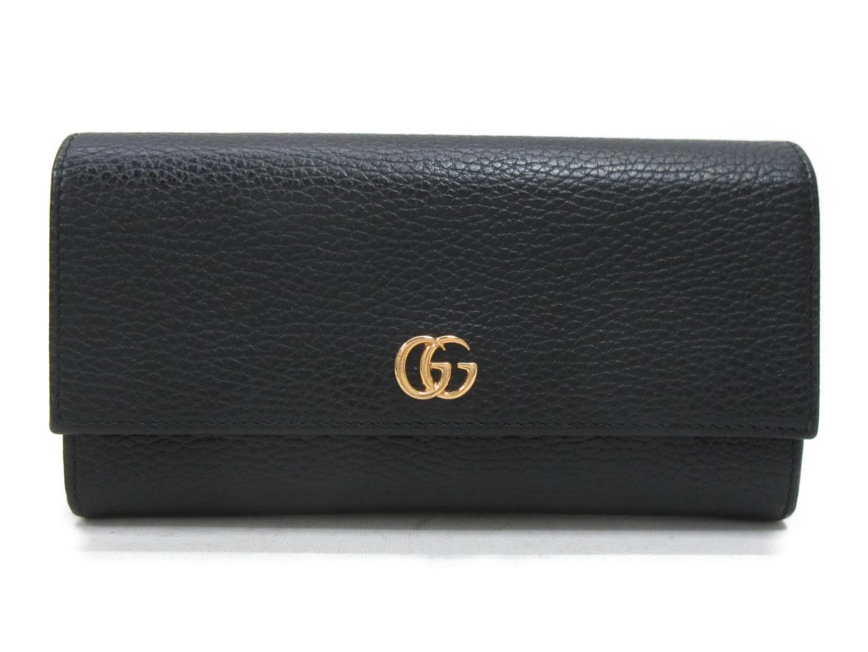 【中古】【送料無料】 グッチ 二つ折長財布 レディース レザー ブラック (456116) | GUCCI 財布 二つ折り 美品 ブランド ブランドオフ BRANDOFF