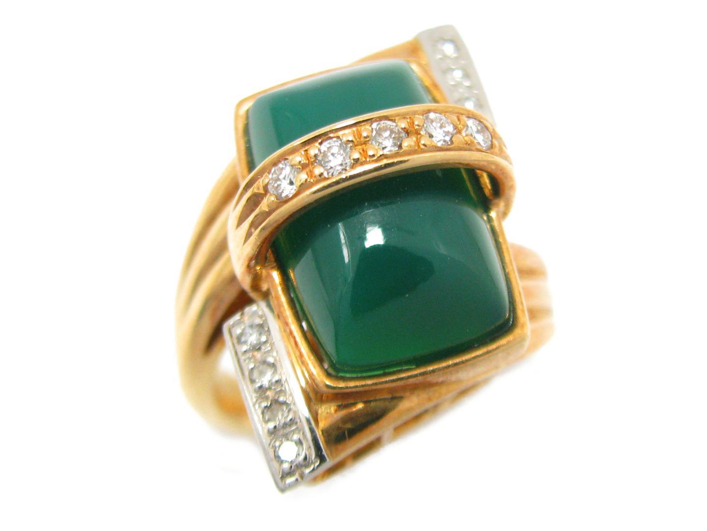 【中古】【送料無料】 ジュエリー 色石 リング 指輪 メンズ レディース K18YG (750) イエローゴールド x PT900 x 色石 x ダイヤモンド (0.18ct) | JEWELRY リング 18K K18 18金 ブランドオフ BRANDOFF