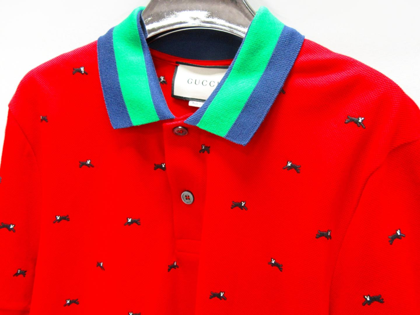 professional info for 2019 professional Gucci polo shirt men cotton (93%)x polyurethane (7%) red (475113)