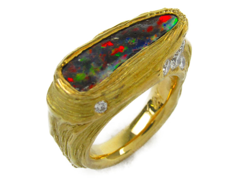 【中古】【送料無料】 ジュエリー ボルダーオパール ダイヤモンド リング 指輪 メンズ レディース K18YG (750) イエローゴールド X ダイヤモンド0.33ct X ボルダーオパール | JEWELRY リング リング 美品 ブランドオフ BRANDOFF