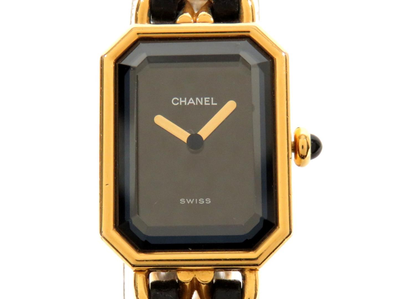 c87bfd9ff387 プルミエールM 時計 クオーツ CHANEL | (H0001) ブラック レザー (メッキ ...