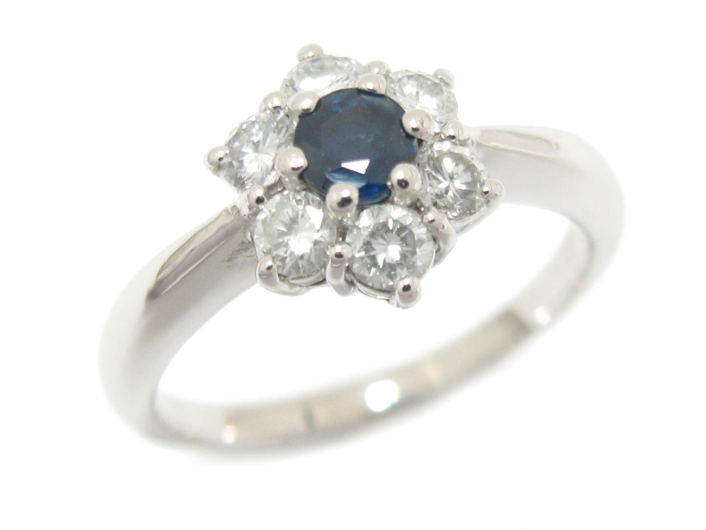 【中古】【送料無料】 ジュエリー サファイア ダイヤモンド リング 指輪 レディース PT900 プラチナ x サファイア (0.31ct) x ダイヤモンド (0.43ct)   JEWELRY リング リング 美品 ブランドオフ BRANDOFF
