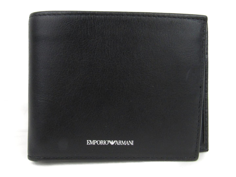 【中古】 エンポリオアルマーニ 二つ折財布 メンズ レザー ブラック (YEM122YBV4E80001) | EMPORIO ARMANI 財布 二つ折財布 美品 ブランドオフ BRANDOFF