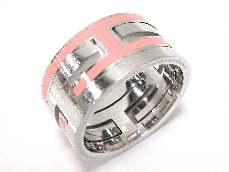 【中古】 エルメス ムーブアッシュリング 指輪 メンズ レディース シルバー (925) ピンク x シルバー | HERMES リング ム・ブアッシュ シルバーリング ブランドオフ BRANDOFF