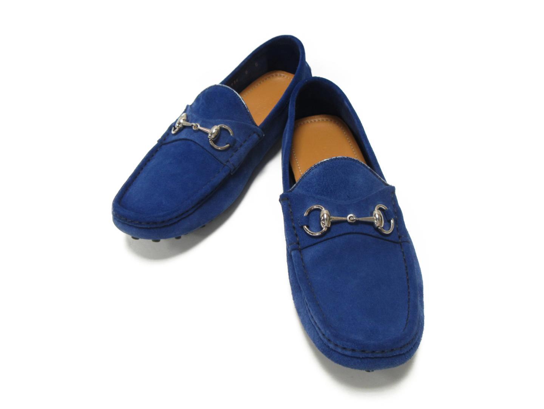 【中古】【送料無料】 グッチ ドライビングシューズ メンズ スエード ブルー (236936) | GUCCI くつ 靴 ドライビングシューズ ブランドオフ BRANDOFF