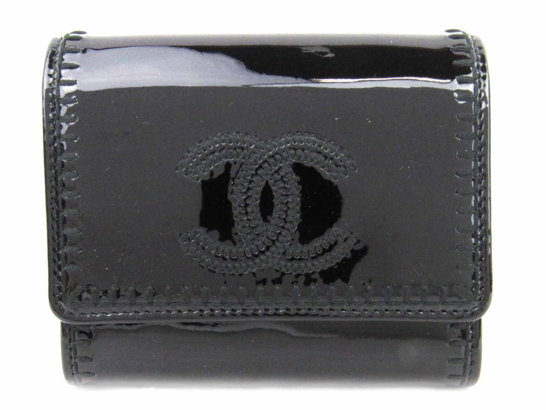 【中古】 シャネル 二つ折財布 レディース エナメル ブラック | CHANEL 財布 二つ折財布 美品 ブランドオフ BRANDOFF