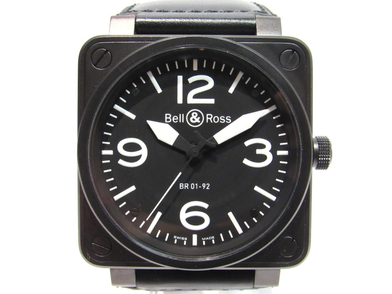 【中古】 ベル&ロス BR01-92 腕時計 ウォッチ メンズ ステンレススチール (SS) x レザーベルト ブラック (BR01-92CFB-CA) | Bell & Ross オートマチック 時計 自動巻き BR01-92 美品 ブランドオフ BRANDOFF