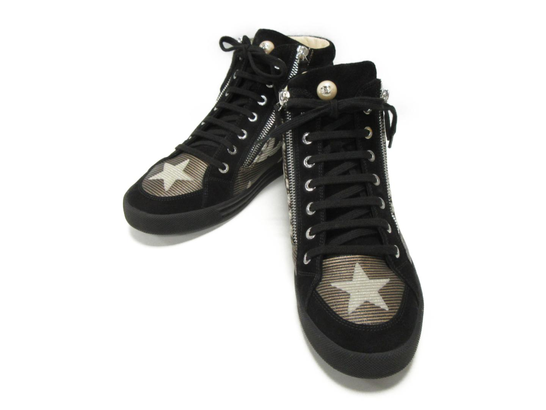 【中古】 シャネル ハイカットスニーカー レディース スエード ブラック (G30243) | CHANEL くつ 靴 ハイカットスニーカー 美品 ブランドオフ