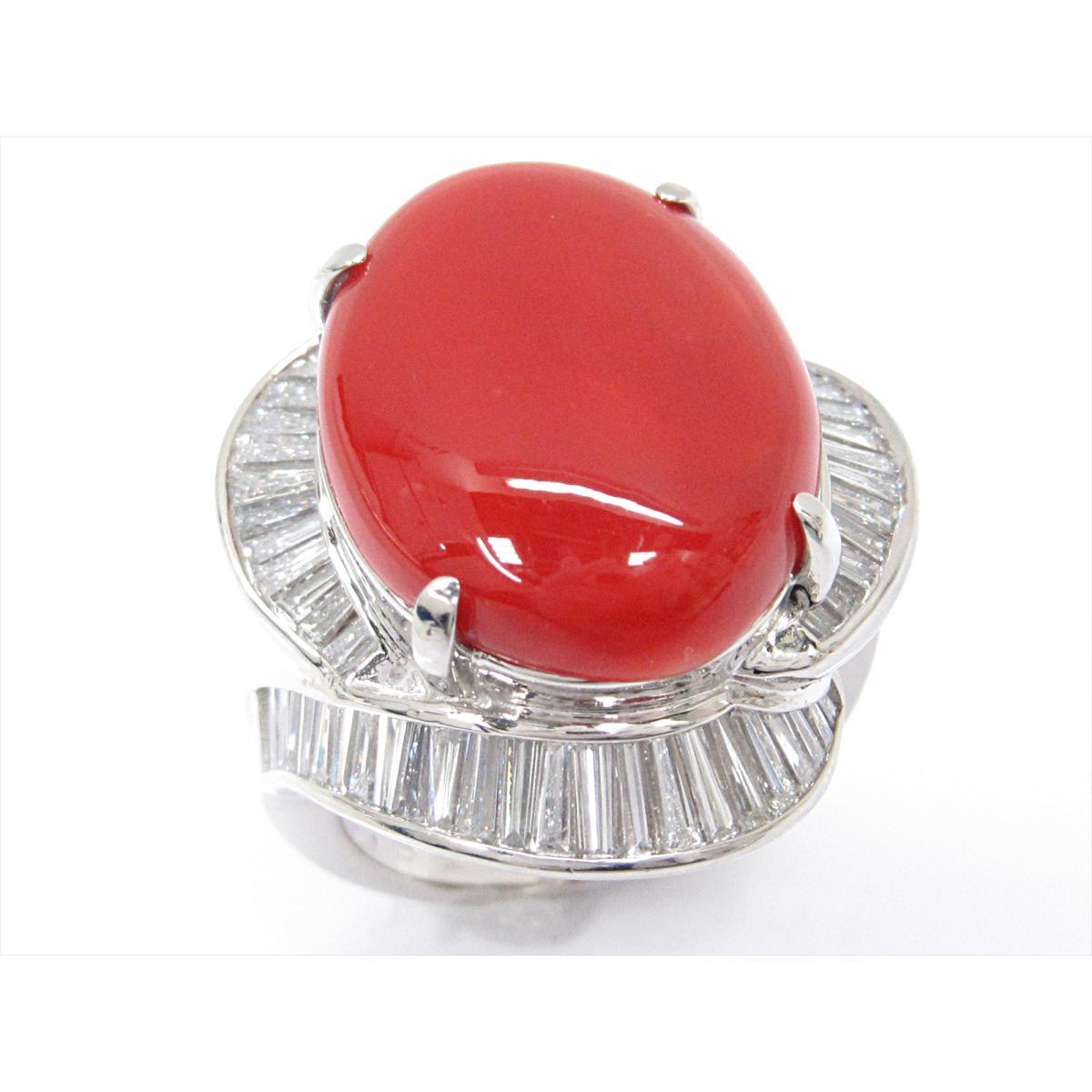 【中古】【送料無料】 ジュエリー サンゴリング 指輪 レディース PT900 プラチナ x サンゴ (11.13ct) x ダイヤモンド (1.81ct)   JEWELRY リング 美品 ブランドオフ BRANDOFF