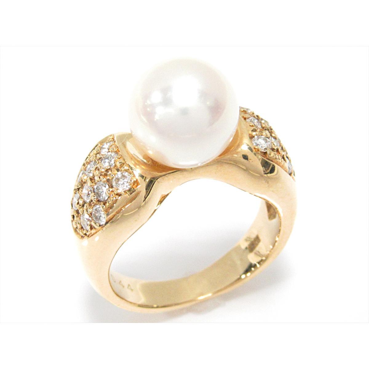 【中古】 ジュエリー パールリング 指輪 レディース K18YG (750) イエローゴールド x パール x ダイヤモンド (0.44ct) | JEWELRY リング K18 18K 18金 リング 美品 ブランドオフ BRANDOFF