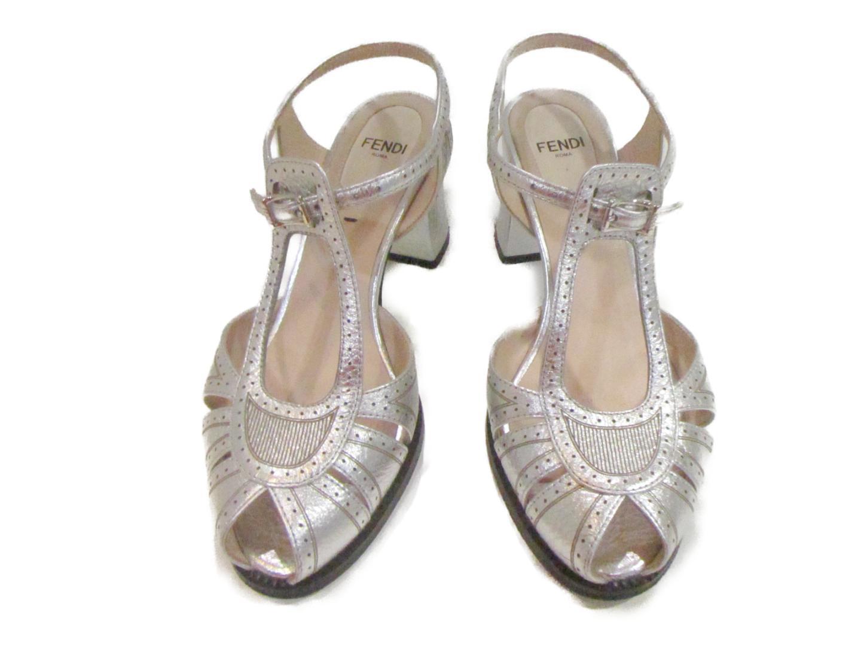 【中古】 フェンディ サンダル ヒールサンダル レディース レザー シルバー | FENDI くつ 靴 サンダル 美品 ブランドオフ