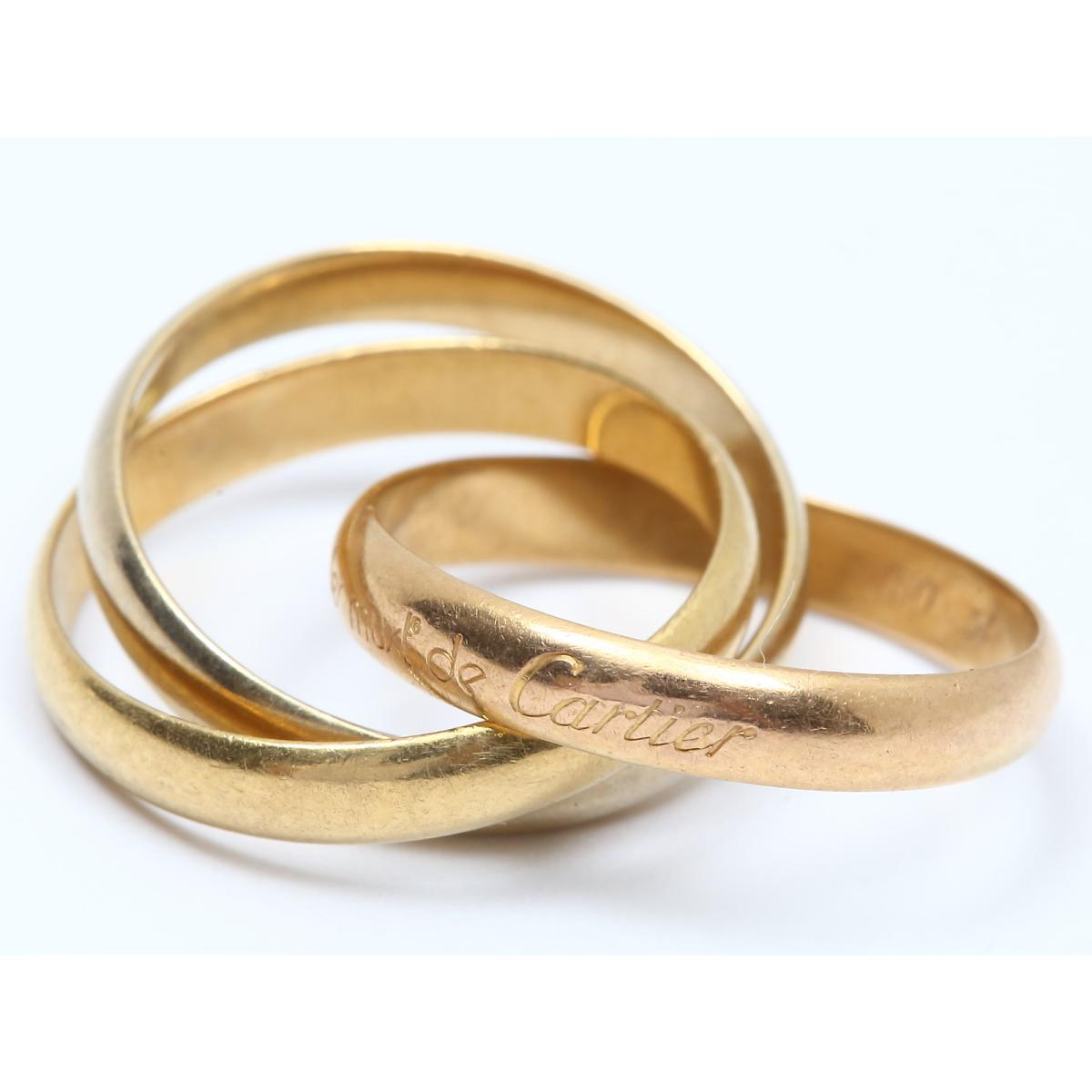 【中古】カルティエ トリニティリング 指輪 レディース K18YG(750) イエローゴールド x K18WG ホワイトゴールド x K18PG ピンクゴールド