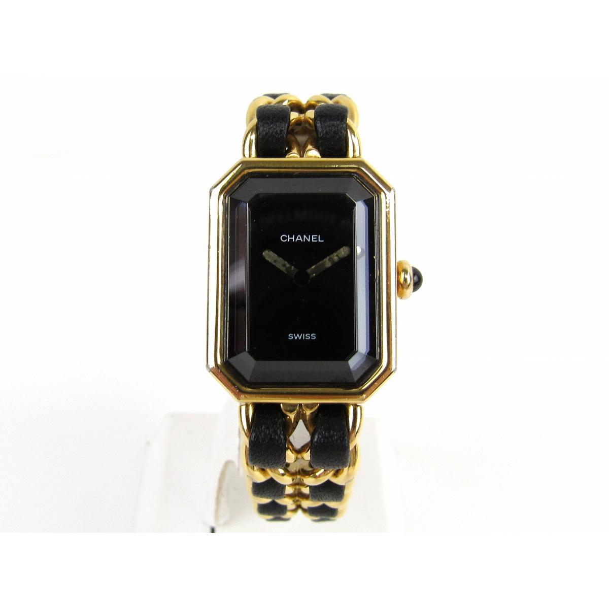 a65eee90e1 ... シャネルプルミエールMウォッチ腕時計レディースレザーベルトxGP(ゴールドメッキ)( ...