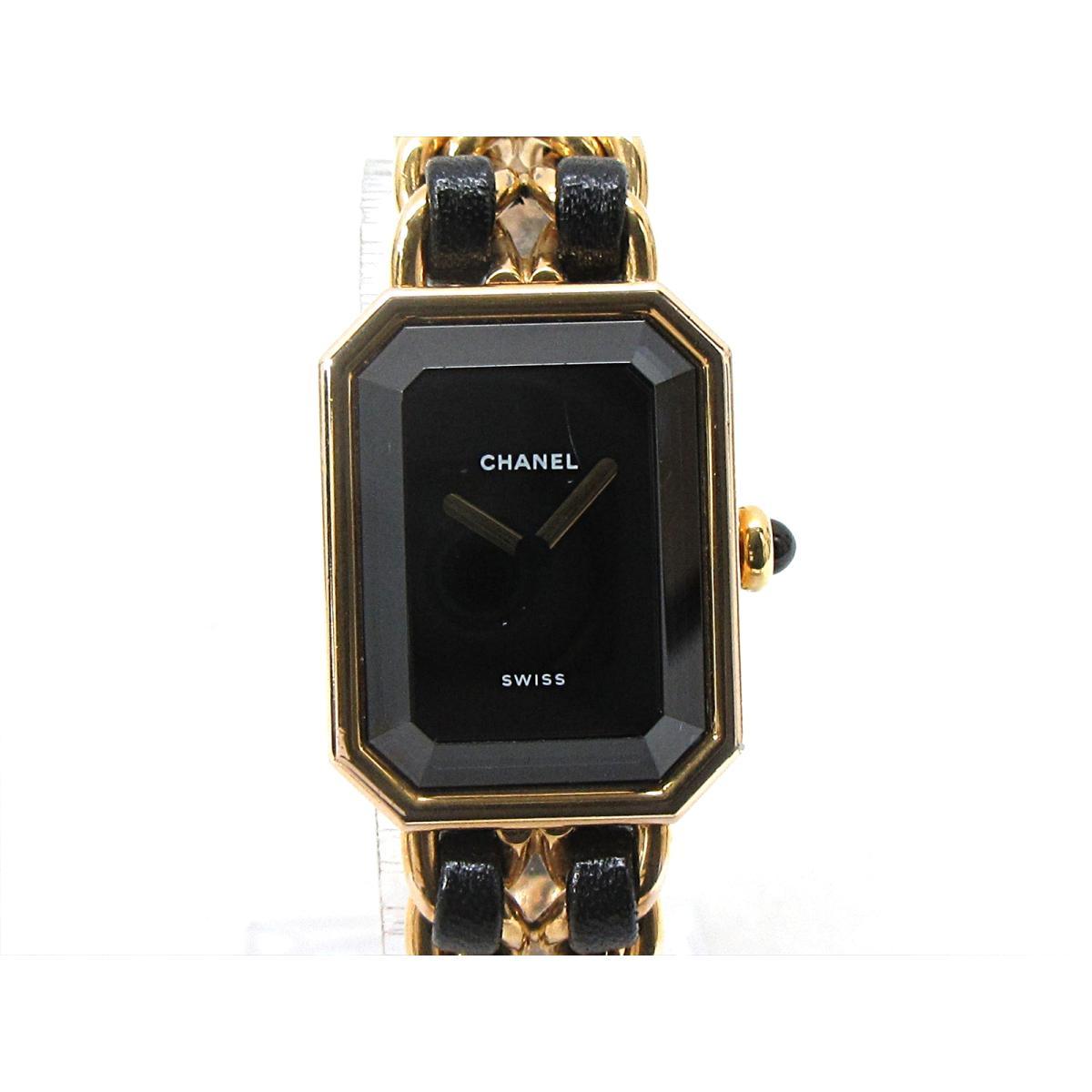 【中古】 シャネル プルミエールL 腕時計 ウォッチ レディース GP x レザーベルト (H0001) | CHANEL クオーツ 時計 プルミエールL 美品 ブランドオフ