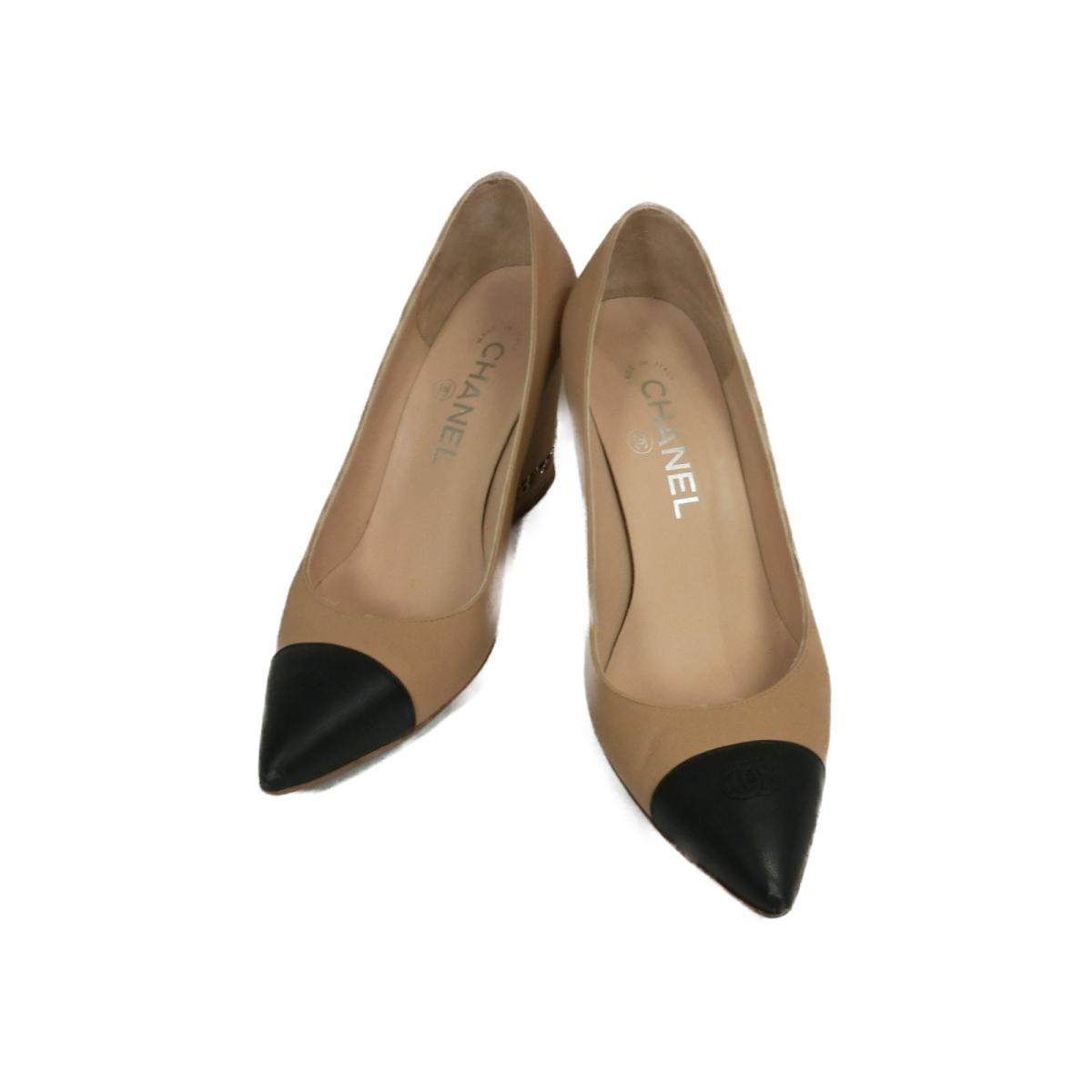 【中古】 シャネル パンプス レディース レザー ベージュ / ブラック | CHANEL くつ 靴 パンプス 美品 ブランドオフ