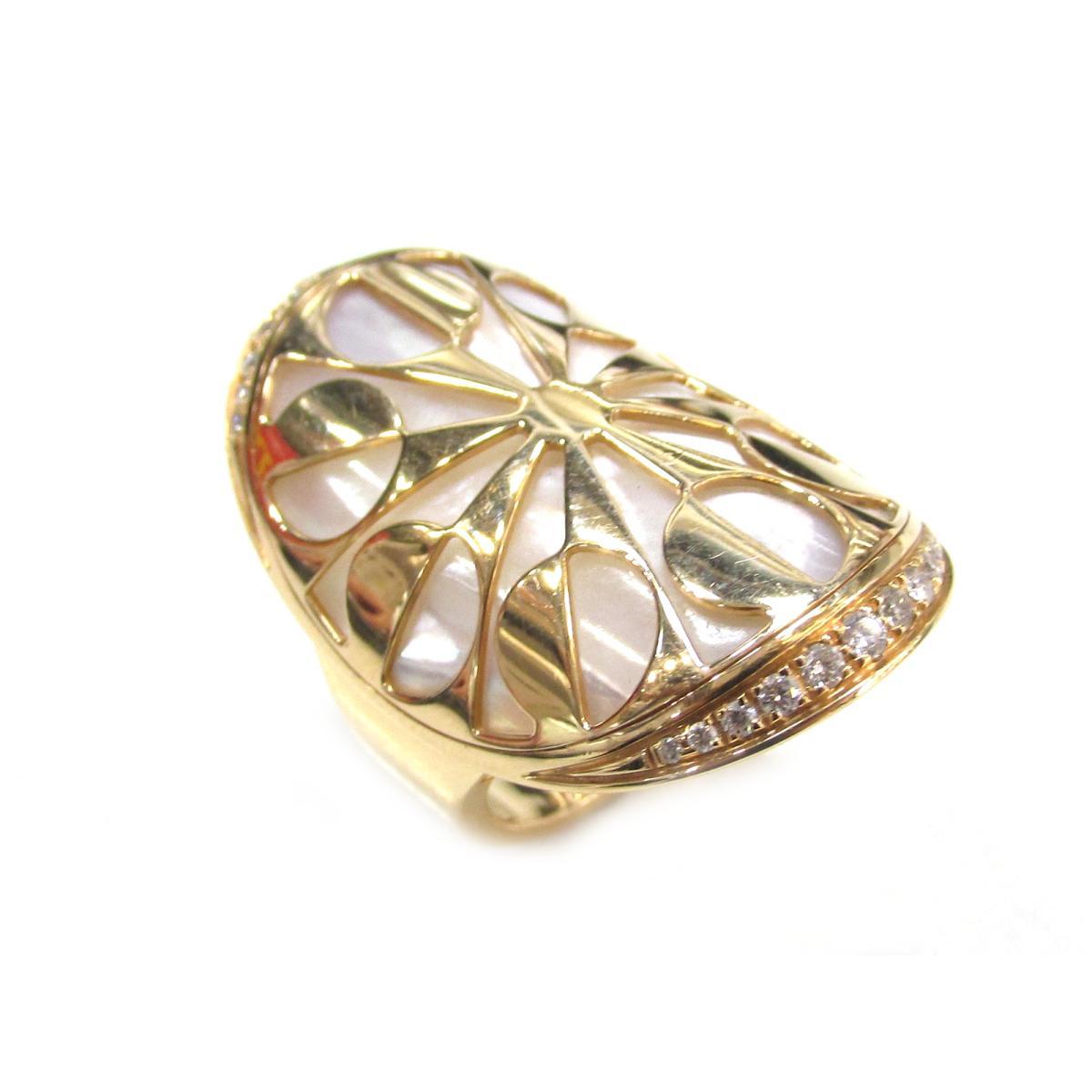 【中古】 ブルガリ シェルインタルシオリング ダイヤモンド 指輪 レディース K18PG (750) ピンクゴールド × ダイヤモンド × マザーオブパール | BVLGARI リング K18 18K 18金 シェルインタルシオリング 美品 ブランドオフ BRANDOFF