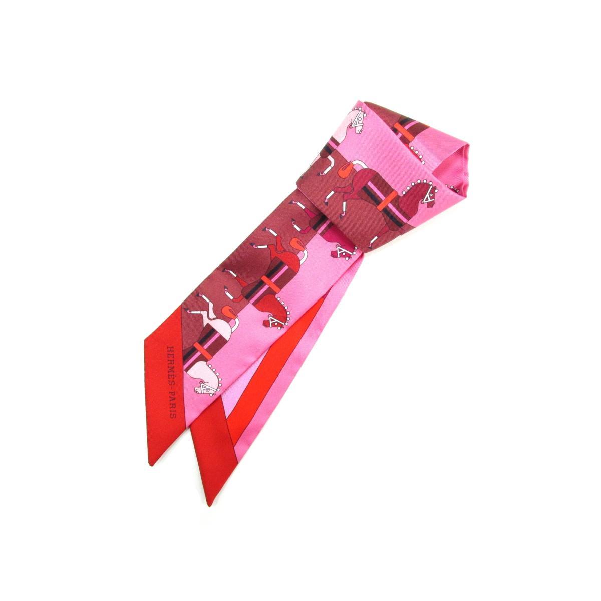 エルメス トゥイリー ツイリー スカーフ リボン メンズ レディース シルク100% ピンク × レッド × ボルドー   HERMES スカーフ トゥイリー 新品 ブランドオフ BRANDOFF