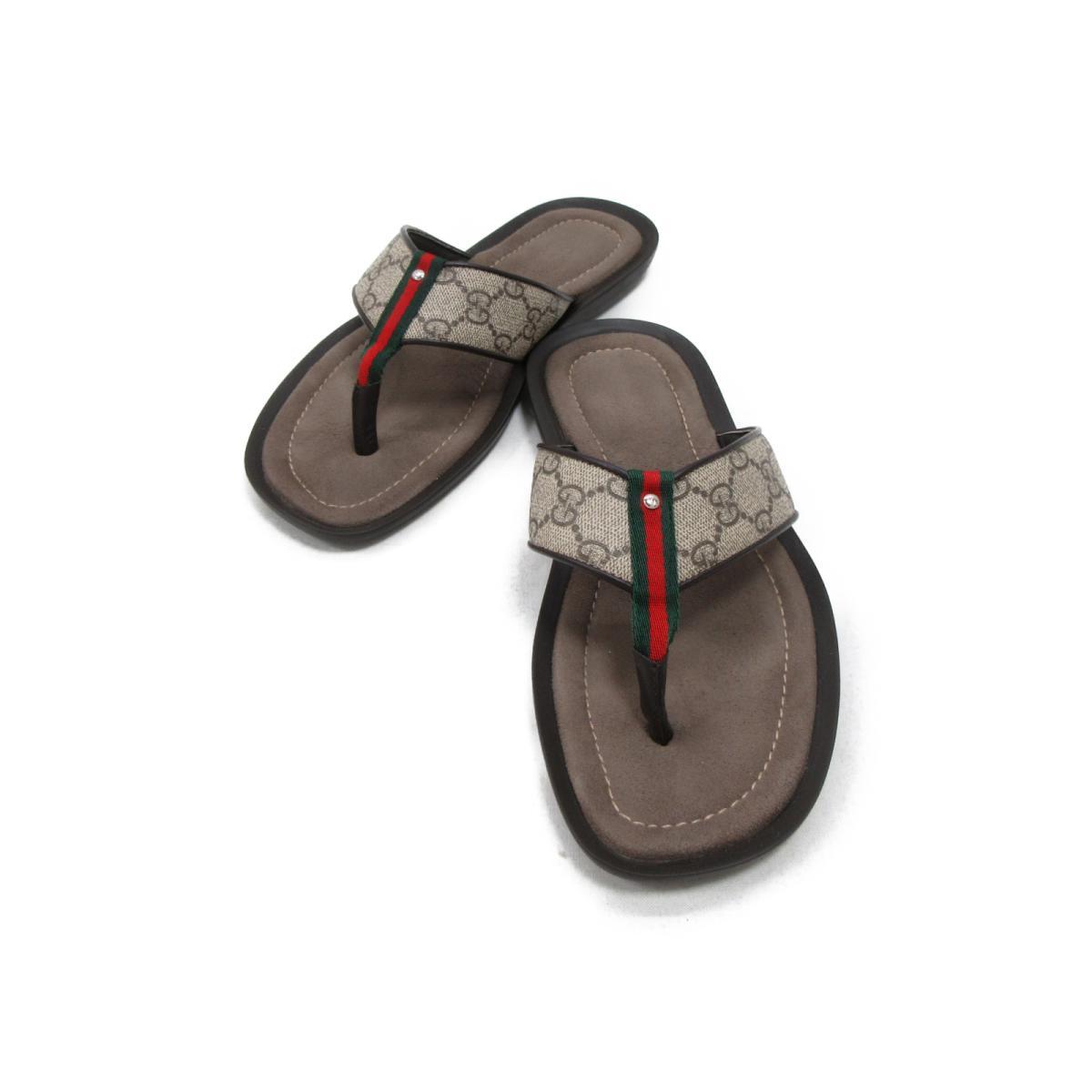 【中古】 グッチ サンダル メンズ レザー x PVC ブラウン系 (202762)   GUCCI くつ 靴 サンダル 美品 ブランドオフ