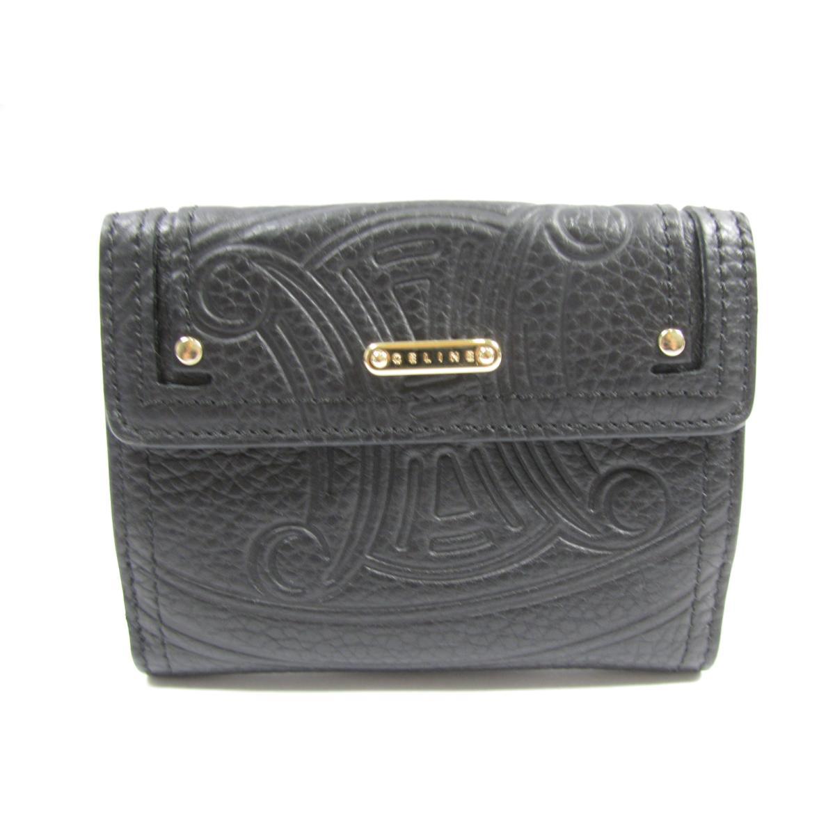 【中古】 セリーヌ Wホック財布 レディース レザー ブラック (107493NGR) | CELINE 財布 Wホック財布 美品 ブランドオフ BRANDOFF