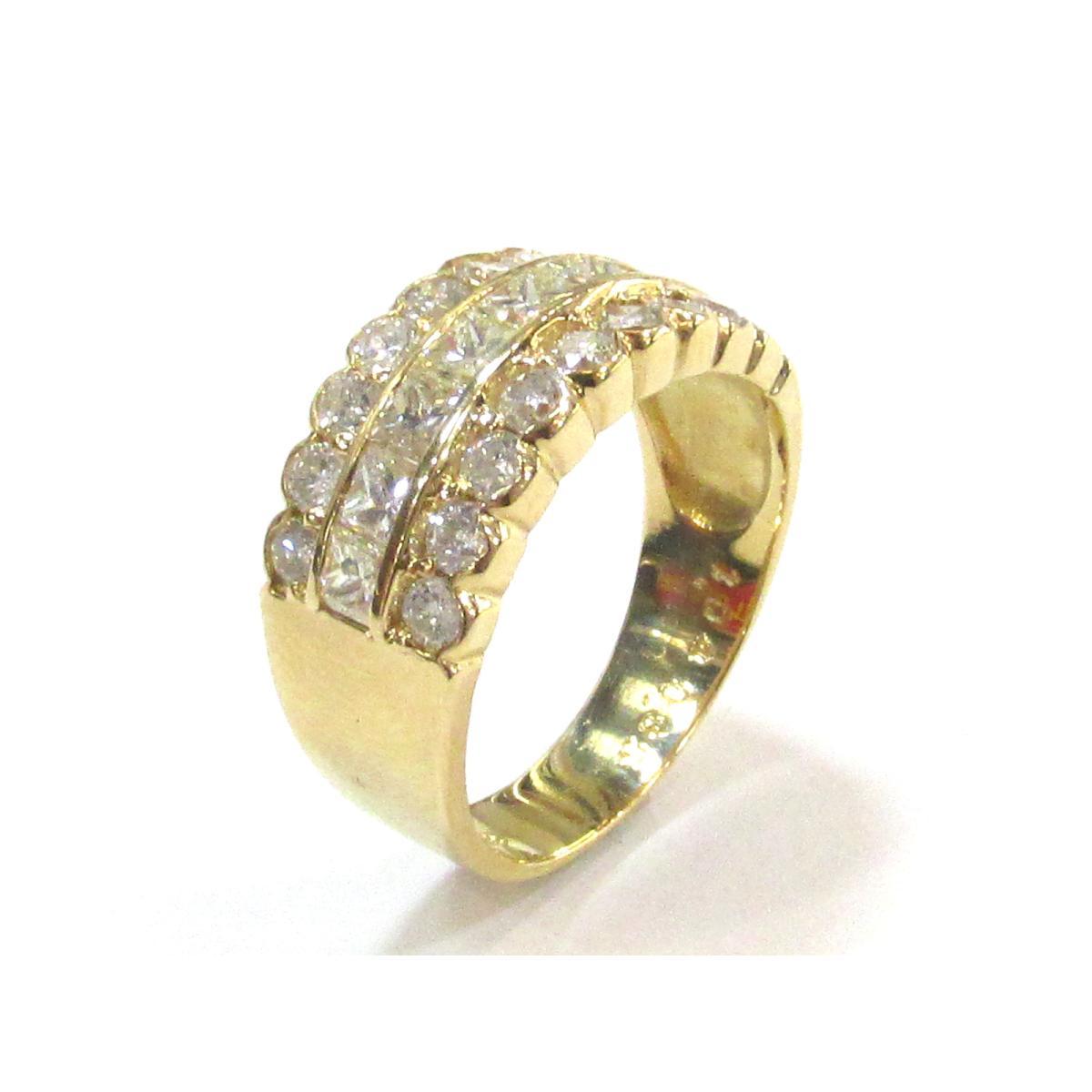 【中古】 ジュエリー ダイヤモンドリング 指輪 レディース K18YG (750) イエローゴールド x ダイヤモンド (1.04ct 0.85ct) | JEWELRY リング K18 18K 18金 リング 美品 ブランドオフ BRANDOFF