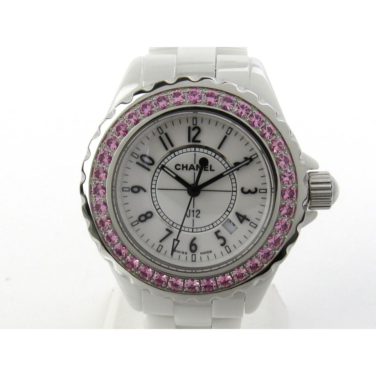 b3557b39f0c9 【中古】 シャネル J12 (PKサファイアベゼル) ウォッチ 腕時計 レディース セラミック x ピンクサファイアベゼル (H1181) CHANEL  クオーツ 時計 J12 (PKサファイア ...