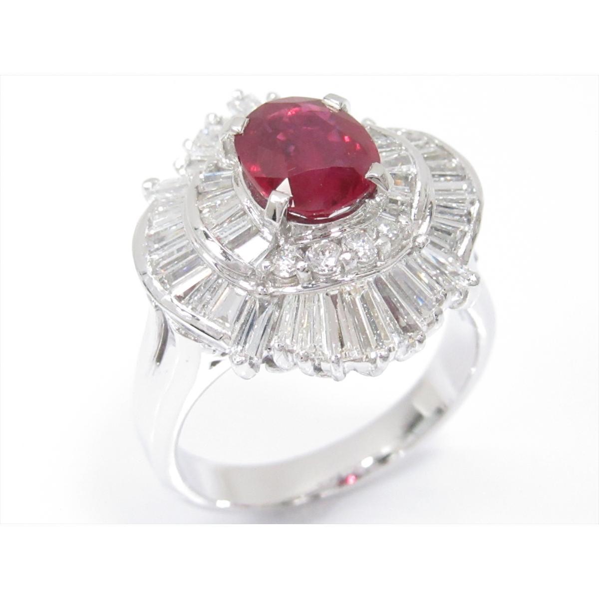 【中古】 ジュエリー ルビーリング 指輪 レディース PT900 プラチナ x ルビー (1.56ct) x ダイヤモンド (1.75ct) | JEWELRY リング リング 美品 ブランドオフ BRANDOFF