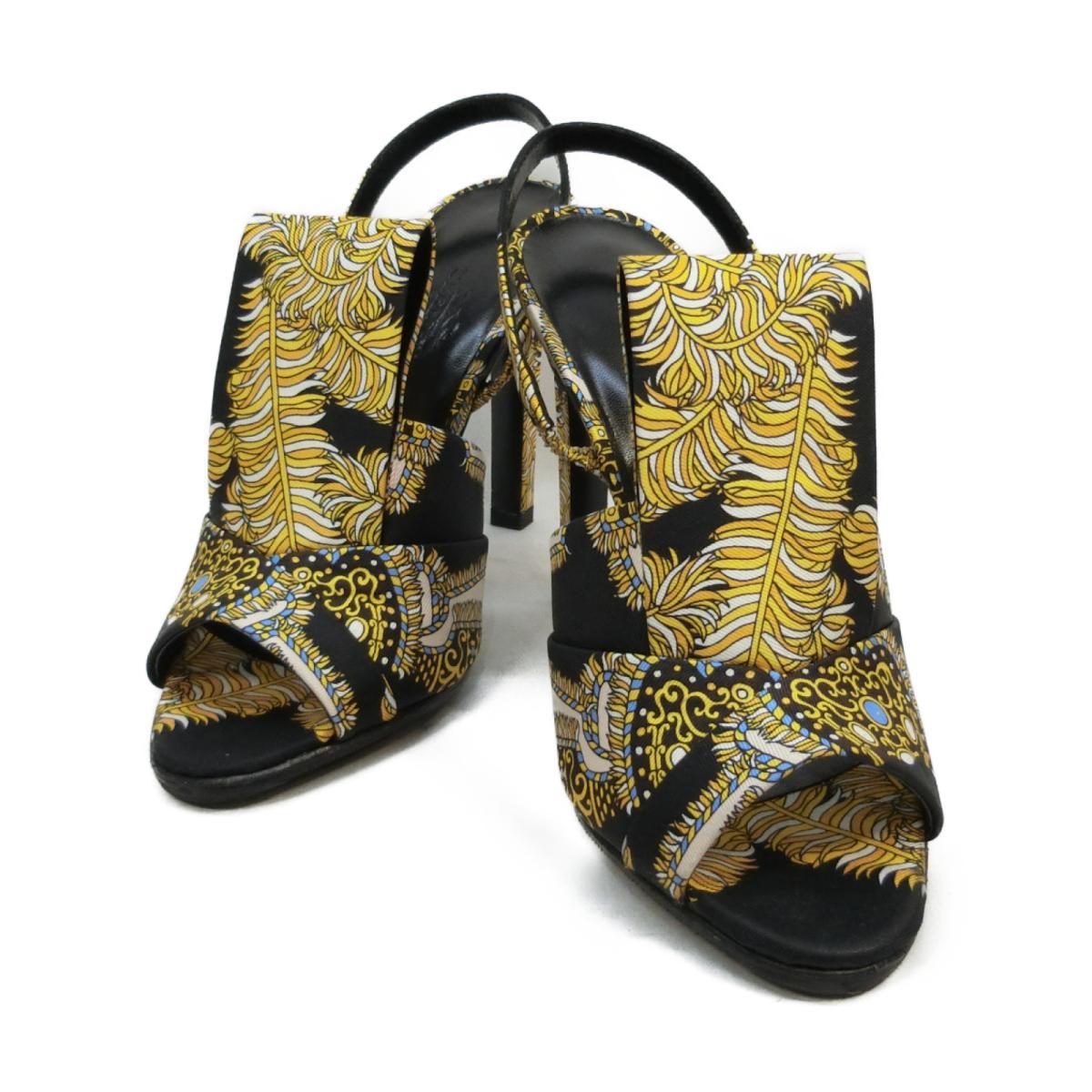 【中古】 エルメス サンダル レディース シルク ブラック イエロー | HERMES くつ 靴 サンダル 美品 ブランドオフ