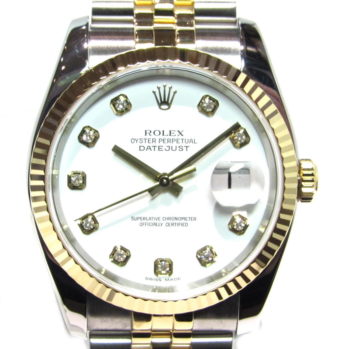 【中古】 ロレックス デイトジャスト 腕時計 ウォッチ メンズ ステンレススチール (SS) x イエローゴールド ゴールド x シルバー x ホワイト (116233G)   ROLEX オートマチック 時計 自動巻き デイトジャスト 美品 ブランドオフ