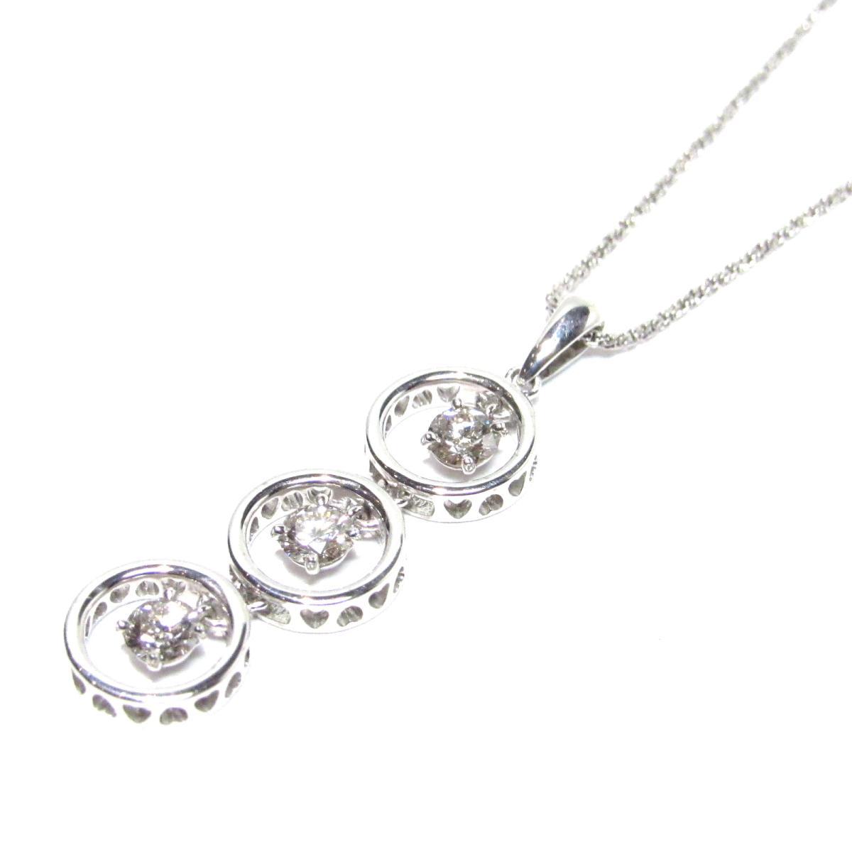【中古】 ジュエリー ダイヤモンド ネックレス レディース K18WG (750) ホワイトゴールド x ダイヤモンド0.36ct クリアー x シルバー | JEWELRY ネックレス K18 18K 18金 美品 ブランドオフ BRANDOFF