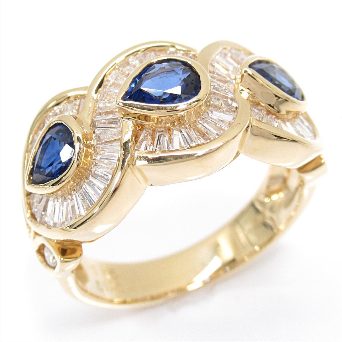 【中古】 ジュエリー サファイアリング 指輪 レディース K18YG (750) イエローゴールド x サファイア (1.15ct) x ダイヤモンド (1.10ct) | JEWELRY リング K18 18K 18金 美品 ブランドオフ BRANDOFF