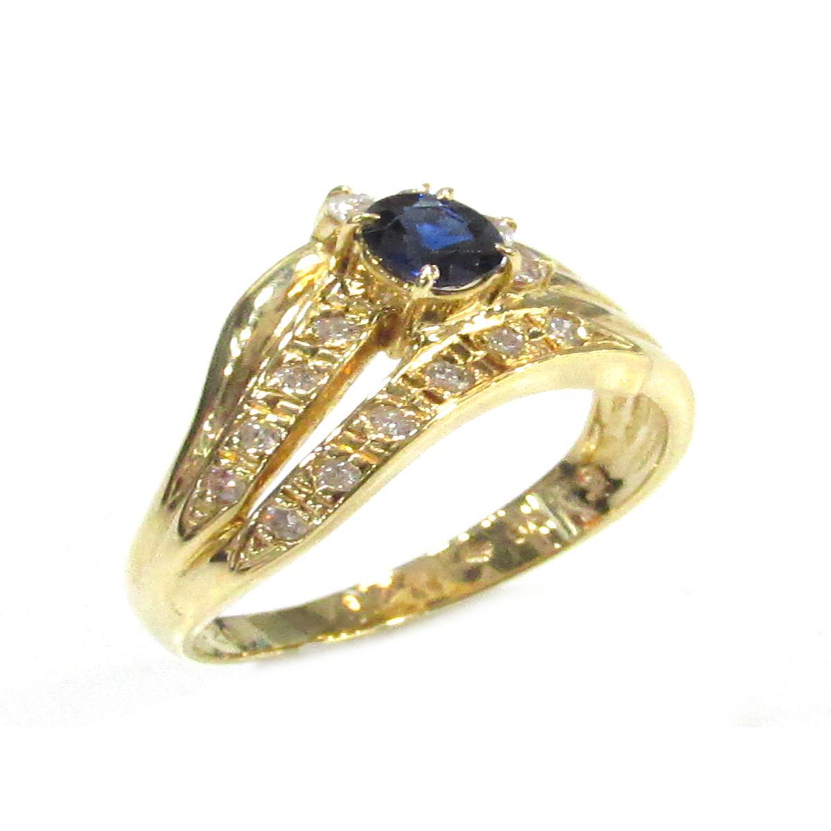 【中古】 ジュエリー サファイアリング ダイヤモンド 指輪 メンズ レディース K18YG (750) イエローゴールド × サファイア (0.35ct) × ダイヤモンド (0.20ct) | JEWELRY リング K18 18K 18金 美品 ブランドオフ BRANDOFF