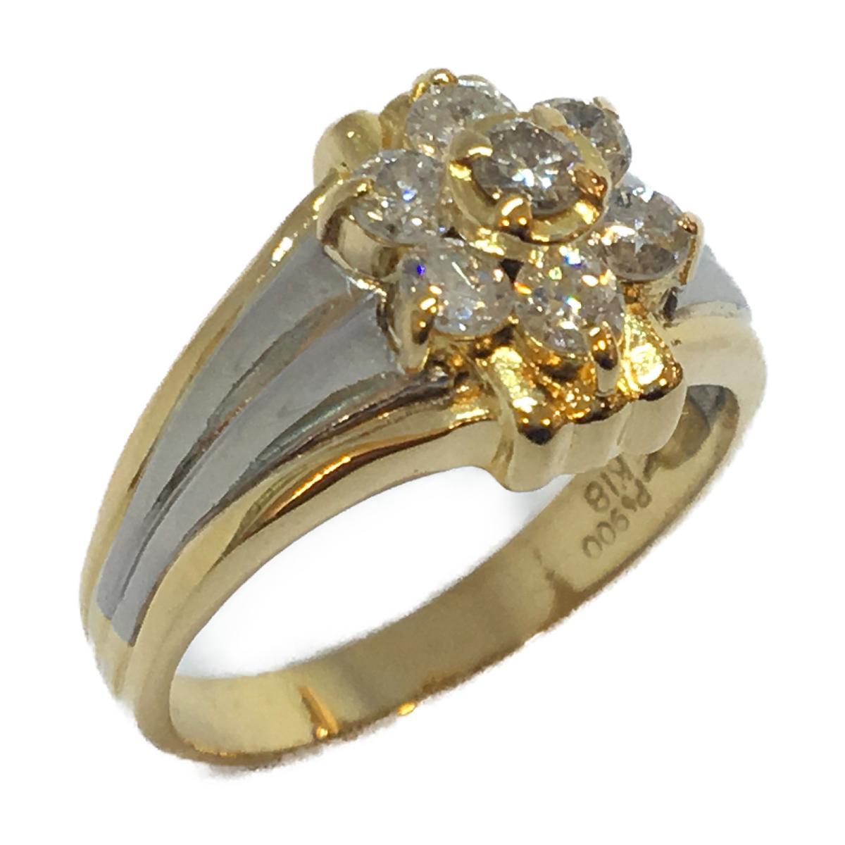 【中古】 ジュエリー ジュエリー ダイヤモンド リング 指輪 メンズ レディース K18YG (750) イエローゴールド × PT900 プラチナ × ダイヤモンド (0.6ct) | JEWELRY リング リング K18 18K 18金 美品 ブランドオフ BRANDOFF