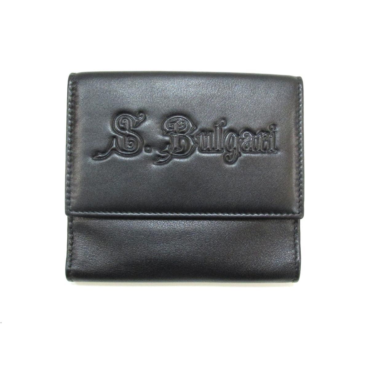 【中古】ブルガリ Wホック財布 二つ折り財布 ユニセックス レザー ブラック