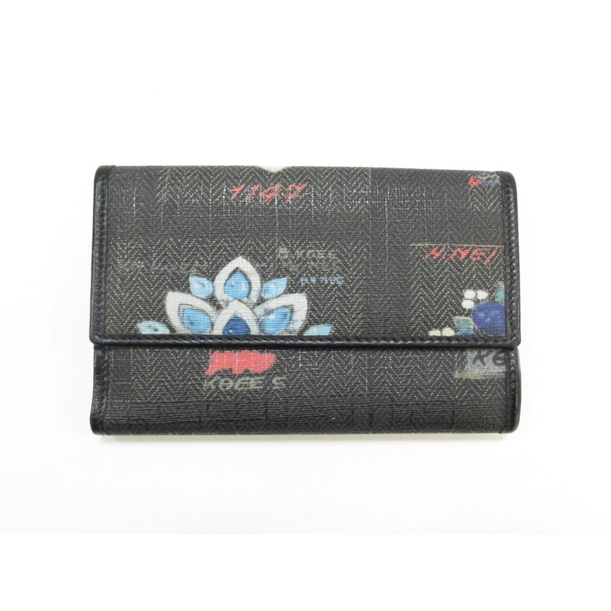 【中古】ブルガリ Wホック財布 二つ折り財布 ユニセックス 塩化ビニールコーティング×レザー ブラック×ブルー×ホワイト×レッド