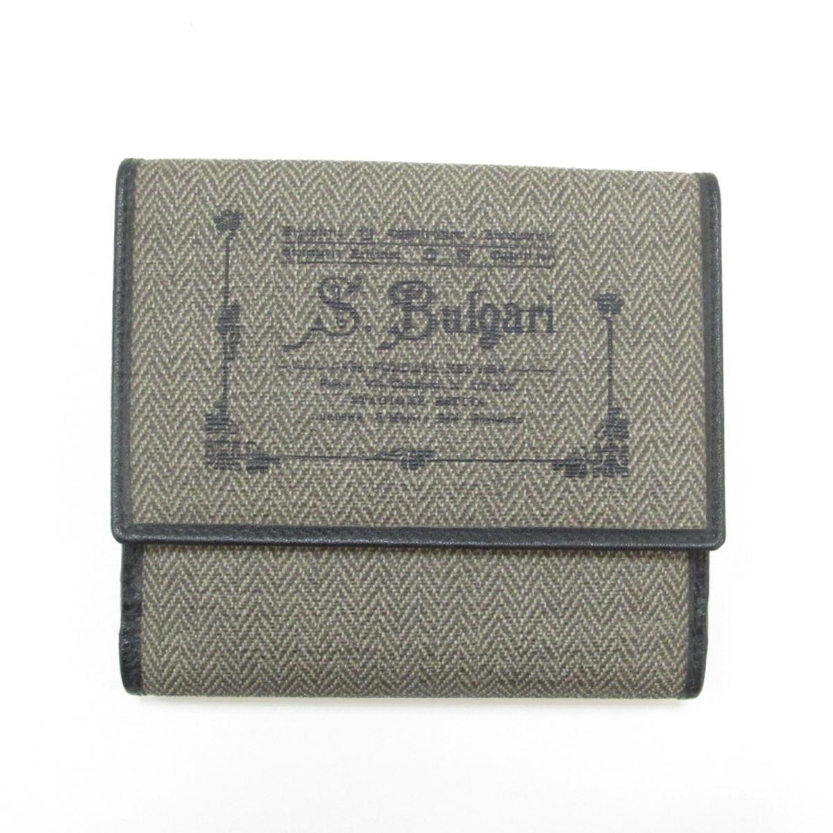 【中古】ブルガリ Wホック財布 二つ折り財布 ユニセックス 塩化ビニールコーティング×レザー ベージュ×ブラック
