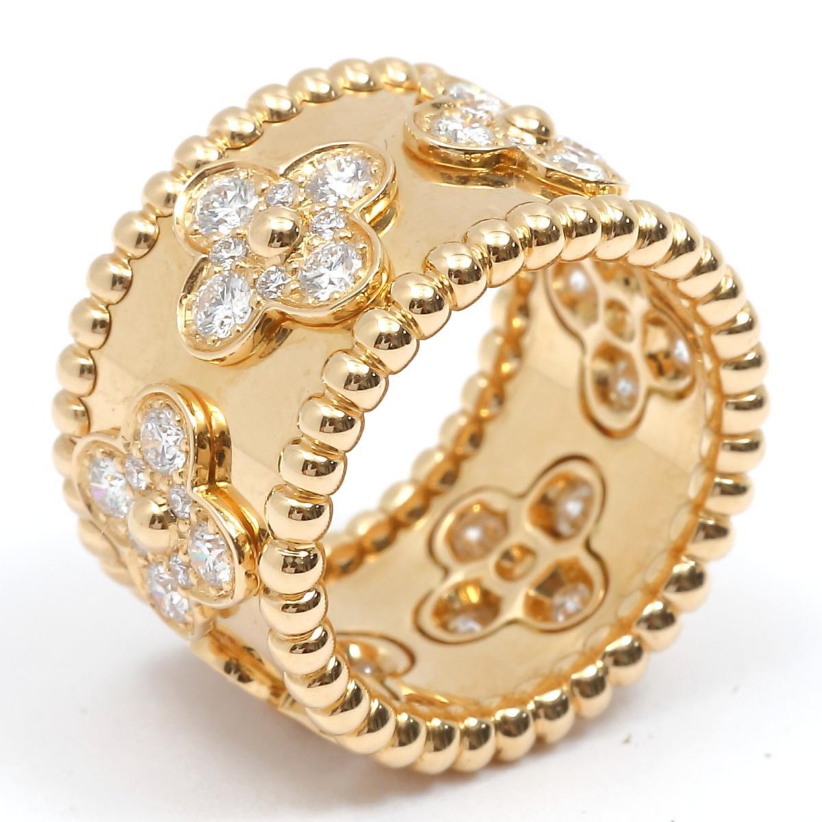 【中古】 ヴァンクリーフ&アーペル ペルレ クローバー ダイヤモンド リング 指輪 レディース K18YG (750) イエローゴールド x ダイヤモンド | Van Cleef & Arpels リング ペルレダイヤリング K18 18K 18金 美品 ブランドオフ BRANDOFF