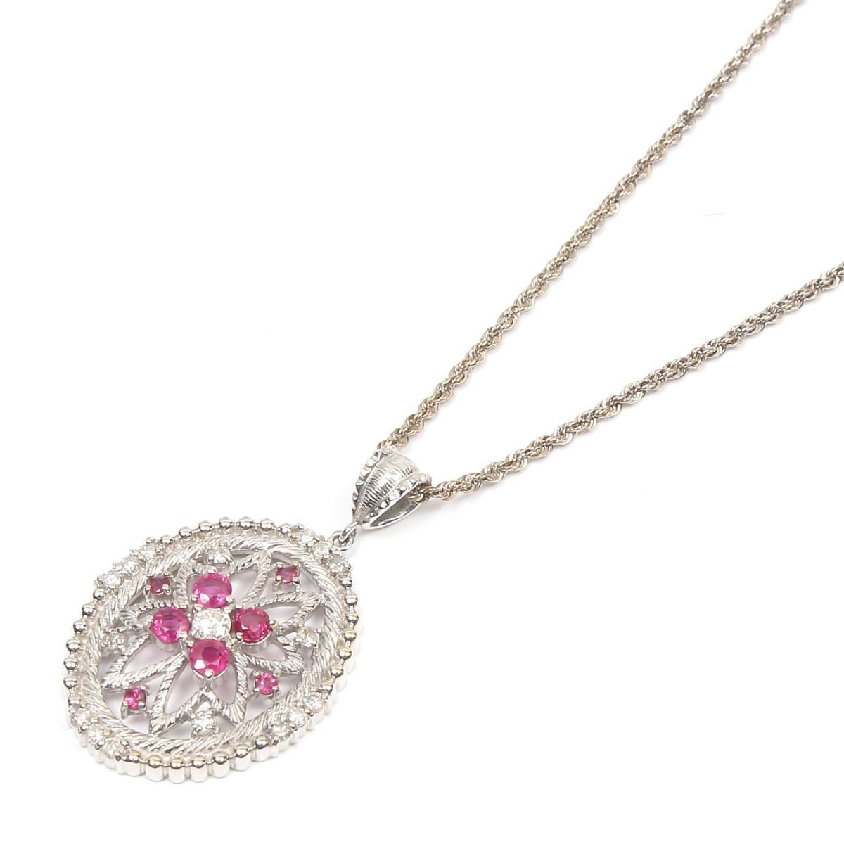 【中古】 ジュエリー ルビー ダイヤモンド ネックレス レディース K18WG (750) ホワイトゴールド x ルビー x ダイヤモンド (0.50ct)   JEWELRY ネックレス K18 18K 18金 美品 ブランドオフ BRANDOFF