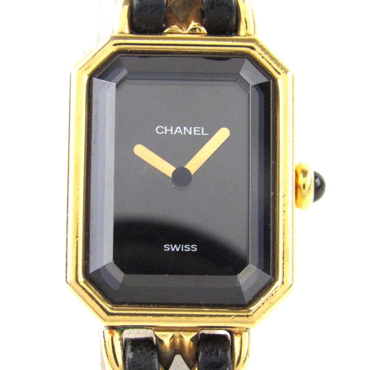 【中古】 シャネル プルミエールM ウォッチ 腕時計 レディース レザーベルト x GP (ゴールドメッキ) (H0001) | CHANEL クオーツ 時計 プルミエールM 美品 ブランドオフ