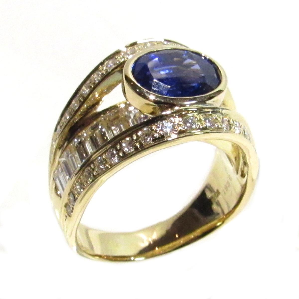 【中古】 ジュエリー サファイア ダイヤモンド リング 指輪 レディース K18YG (750) イエローゴールド x サファイア3.261 x ダイヤモンド2.20ct ブルー x クリアー × ゴールド | JEWELRY リング 18K K18 18金 美品 ブランドオフ BRANDOFF