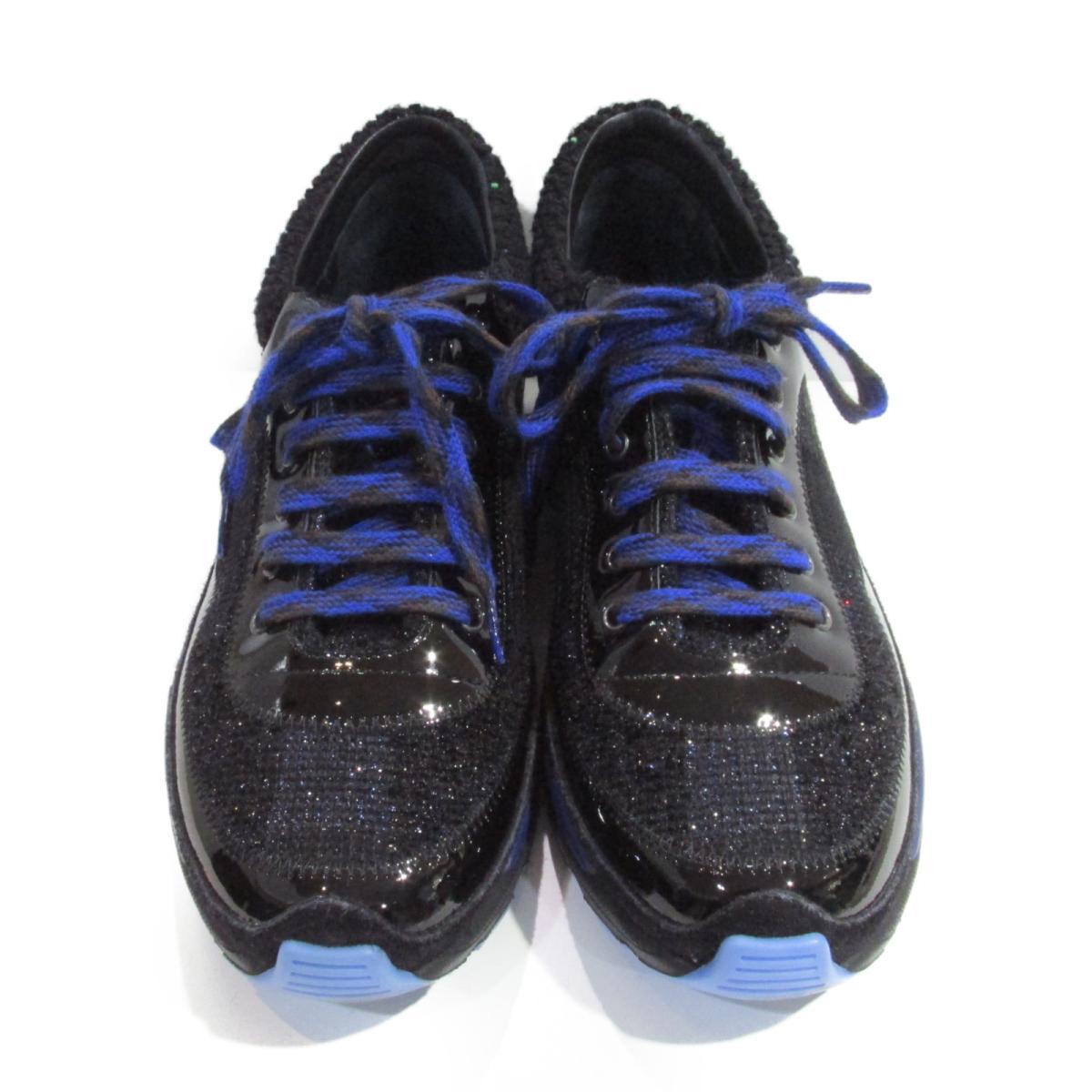 【中古】 シャネル スニーカー レディース エナメル x レザー x コットン ブラック x ネイビー (G30442)   CHANEL くつ 靴 スニーカー 美品 ブランドオフ