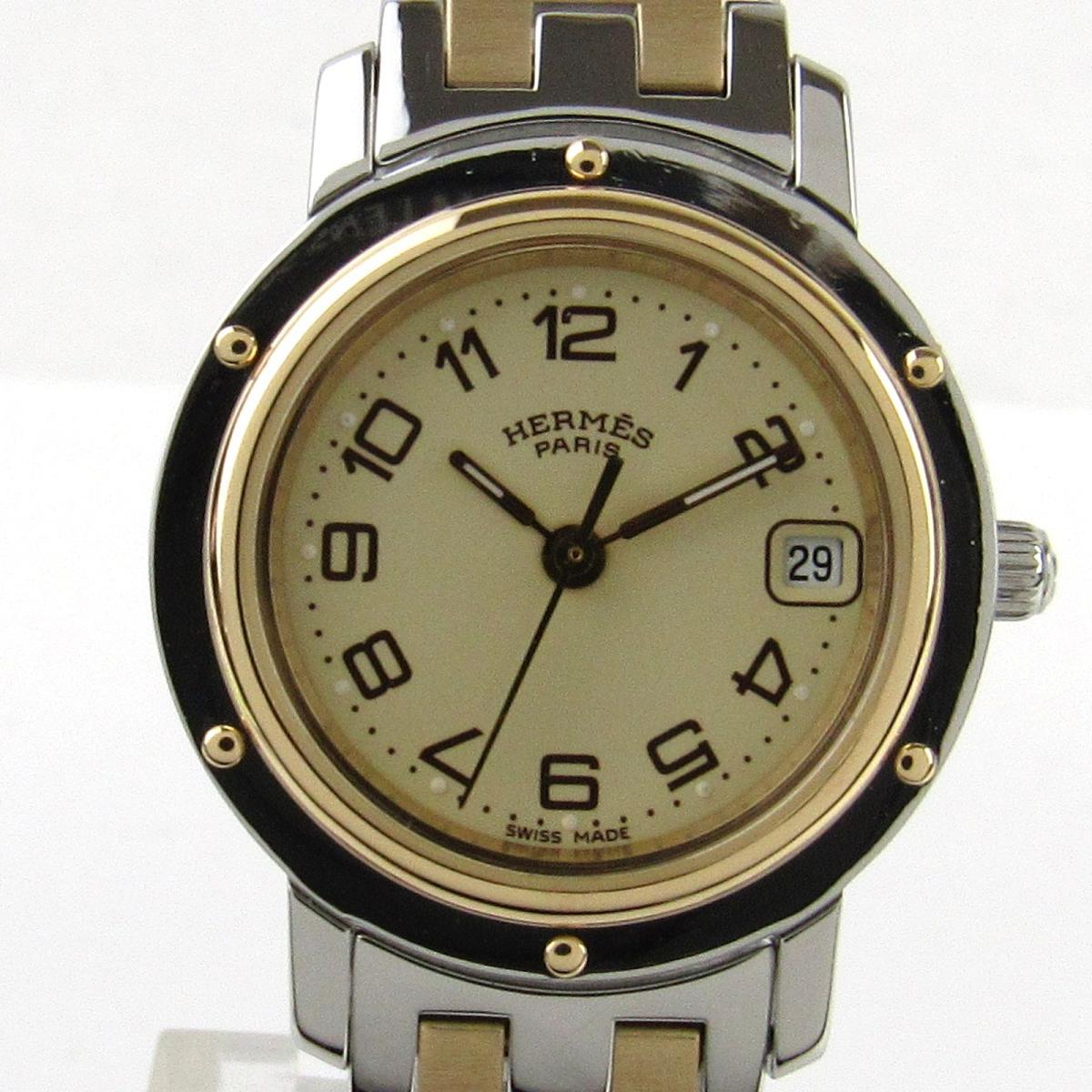 【中古】 エルメス クリッパー ウォッチ 腕時計 レディース ステンレススチール (SS) x GP (ゴールドメッキ) | HERMES クオーツ クォーツ 時計 クリッパー 美品 ブランドオフ
